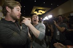 """Chris Evans and Chris Hemsworth at a press line for the movie """"Avengers: Age of Ultron"""" during the 2014 Comic-Con International Convention in San Diego, California July 26, 2014.[HQ]"""