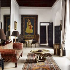 Spacious suite in Marrakech, Casablanca boasts ample space with a walkthrough closet, king size bed, tadelakt bathroom and private balcony with garden view.