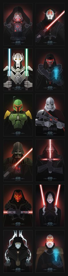 This series depicts many of the villains known in the Star Wars universe. Celebrating the imminent release of both the new film 'The Force Awakens' and the new Bioware expansion for 'The Old Republic'. Can you recognize all of the characters?