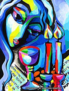 Splendid Light Jewish original paintings by artist Martina Shapiro, fine art, abstract, contemporary #shabbat