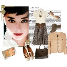 Plaid skirt Audrey Hepburn style