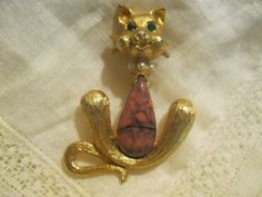 Vintage 1960's Cathe' Art Glass Kitty Cat by Sisters2Vintage