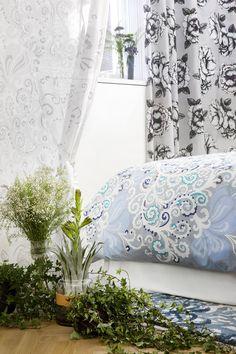 Naimakauppa fancy and Adalmiina curtain and Naimakauppa bed set by Tanja Orsjoki