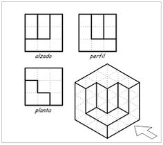 Imagen relacionada 3d Drawing Techniques, Drawing Skills, Drawing Tips, Isometric Drawing Exercises, Drawing Book Pdf, Orthographic Drawing, Interior Architecture Drawing, Interesting Drawings, Graph Paper Art