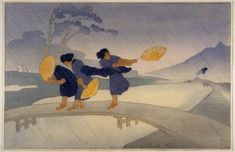 Woodblock prints (Estampes) :: Wind and Rain - Bertha Lum