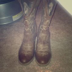 Cowboy boots Brown mid calf cowboy boot style with 3 inch heel Rue 21 Shoes Heeled Boots