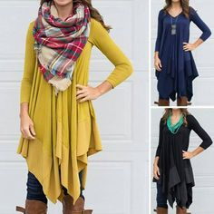 Love this loose flowy top with scarf!