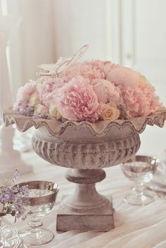 The Perfect Flower Recipe - an urn, roses, peonies and an organza butterfly