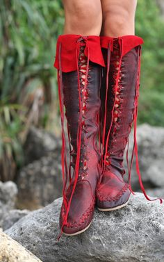 Leather Boots – Antique Red Knee High Leather Boots For Women | Gip...