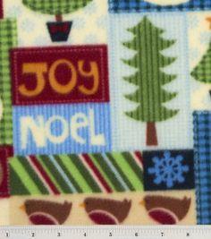 Holiday Inspirations Fabric-Snowman Patch Fleece