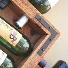 Rústica pared montado estante del vino madera vino Rack 8