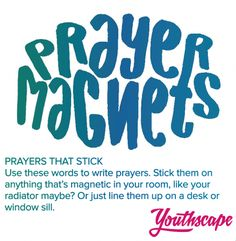 A simple, fun way for young people of all ages to create prayers using these words taken from original prayers written by teenagers. New Set, Young People, Magnets, Prayers, Writing, Words, Children, Spaces, Young Children