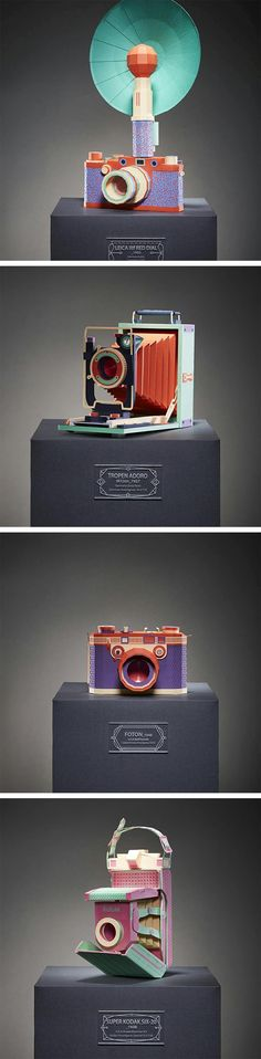 Vintage Film Cameras Meticulously Built From Colored Paper by Lee Ji-Hee