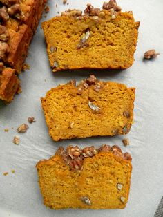 This Healthy Pumpkin Bread with Maple Pecan Crumble is soft, fluffy, moist & perfectly spiced with nutmeg, ginger and cinnamon. Refined Sugar Free & Vegan.