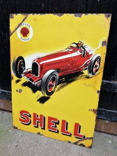 Shell Gas Station, Vintage India, Porcelain Signs, Garage Signs, Old Tools, Old Signs, Colour Yellow, Advertising Signs, Color Theory