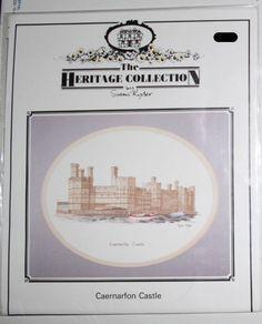 Caernarfon Castle Wales Cross Stitch Pattern Embroidery Design Chart 1991 #HeritageStitchcraft