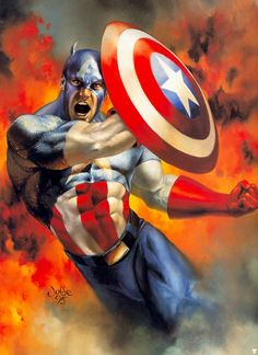 Captain America (Steve Rogers) - art by Julie Bell - Avengers - Marvel Comics Julie Bell, Capitan America Marvel, Captain America Art, Comic Movies, Comic Books Art, Comic Art, Marvel Art, Marvel Heroes, Fantasy Kunst