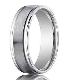 Palladium Wedding Ring with Spun Satin Finish and Raised Edges | 4mm - JB1159