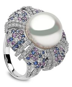 Yoko London | Calypso Ring | South Sea Pearl, Sapphires & Diamonds in White Gold