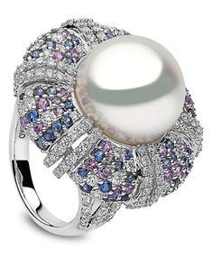 Yoko London | Calypso Ring | South Sea Pearl, Sapphires & Diamonds in White…
