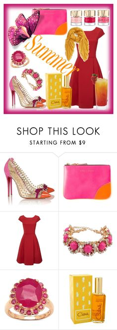 """""""Untitled #133"""" by ghadamfh ❤ liked on Polyvore featuring Christian Louboutin, Comme des Garçons, Phase Eight, Malaika, Revlon and BP."""