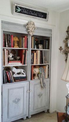 Home office. Bookcase built into a closet Bluebird Vintage, Blue Bird, Home Office, Bookcase, Villa, Shelves, Building, Closet, Home Decor