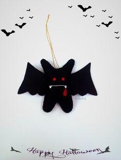 Vampire Bat Halloween Ornament Felt Toys Plush Little Monster Stuffed Spooky Home Decor Creepy Cute Vampire Bat Hanging Decoration by BelkaUA on Etsy