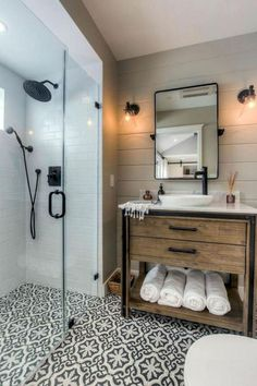 80 guest bathroom makeover decor ideas for a . - 80 guest bathroom makeover decor ideas for a budget - Modern Farmhouse Bathroom, Rustic Farmhouse, Farmhouse Design, Farmhouse Ideas, Farmhouse Vanity, Farmhouse Remodel, Modern Bathrooms, Urban Farmhouse, Best Bathrooms