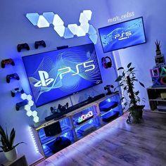Best Gaming Setup, Gamer Setup, Gaming Room Setup, Pc Setup, Nanoleaf Panels, Boys Game Room, Bedroom Games, Bedroom Ideas, Blue Game
