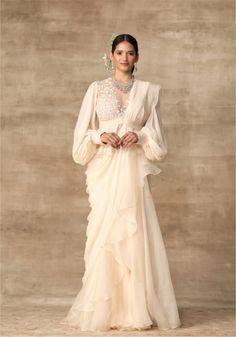 The Khloe Sari – Studio Saree Draping Styles, Saree Styles, Blouse Styles, Saree Blouse Patterns, Saree Blouse Designs, Indian Designer Outfits, Designer Dresses, Designer Sarees, Organza Saree