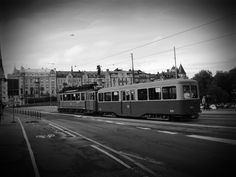 Tramway, Stockholm. Black and white