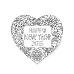 Adult Coloring Book Style Happy New Year 2016 Heart Stickers Sheet Of 20