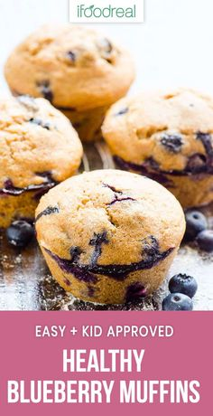 Healthy Blueberry Muffins - iFOODreal - Healthy Family Recipes This super easy, super healthy, kid approved recipe is easy and contains the simplest ingredients. Healthy Muffins For Kids, Healthy Muffin Recipes, Healthy Baking, Healthy Desserts, Baby Food Recipes, Family Recipes, Dessert Recipes, Recipies Healthy, Baking Recipes For Kids