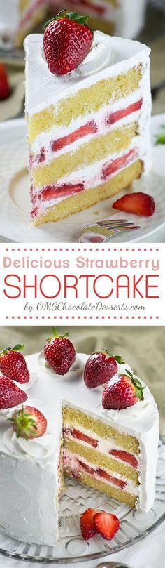 Strawberry Shortcake Cake - layers of dense, buttery and moist vanilla cake filled with fresh whipped cream and fresh sliced strawberries. Easy spring ( or summer ) dessert recipe to celebrate the arrival of my favorite season.