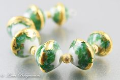 Gilded Breezes: Green and Gold Lampwork Glass Bead Set by www.LoriBergmann.etsy.com #handmade #beads
