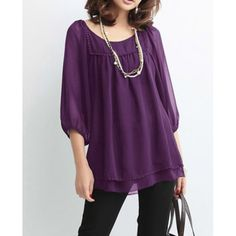 $19.69 Casual Style Scoop Neck 3/4 Sleeve Solid Color Beading Slimming Chiffon Women's Blouse