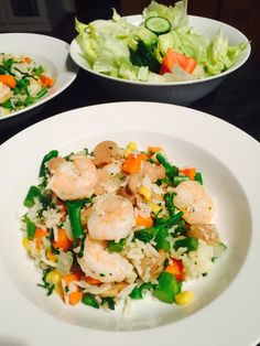Rice with prawns & mixed veggies