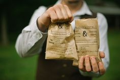 #ceremonyprogram on a #brownpaperbag doubled to hold #homemade #cookies for #weddingfavors #bluemooneventplanning