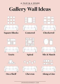 One pair & one spare part 9 ways to lay out your gallery wall # . - One pair & one spare part 9 options for the layout of your gallery wall # Gallery furniture - Gallery Wall Layout, Gallery Walls, Living Room Gallery Wall, Picture Wall Living Room, Living Room Wall Ideas, Gallery Wall Staircase, Living Room Pictures, Gallery Wall Art, Decorating Ideas For The Home Living Room