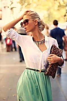 White button down blouse,flowing maxi mint-green skirt, leopard purse, statement necklace. Love! love! this combination.