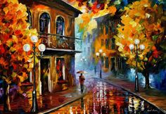 Rainy Street - Fall Rain 2 — Palette Knife Oil Painting On Canvas By Leonid Afremov. Cityscape, City Wall Art, Town Artwork, Size: X Oil Painting Texture, Autumn Painting, Texture Art, Oil Painting On Canvas, Artist Painting, Painting Prints, Art Prints, Fall Paintings, Rain Painting