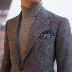 Gray wool jacket and turtle neck #menswear