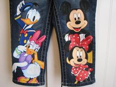 Custom Disney clothing Minnie, Mickey n Friends w 4 EXLARGE SIZE CHARACTERS on the front .Hand Painted  jeans  Sz 18m  to 24 m, 2 to size 10. $49.99, via Etsy.