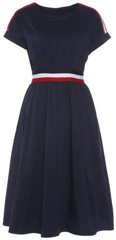 Contrast Stripe Cotton Dress-Deep Blue-Gucci