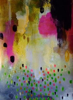 Abstract Art Abstract Painting Abstract Landscape Abstract Decor Black Pink Yellow Gold Original Painting Asbtract Wall Art Contemporary Art