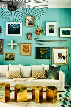 Gallery wall goals via Popham Design as featured in Extraordinary Interiors In Colour by Jane Rockett & Lucy St George. Living Room Paint, Living Room Colors, Interior Design Books, Style Matters, Sofa Colors, Curved Sofa, Room Color Schemes, Room Wallpaper, Shop Interiors