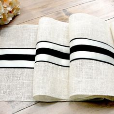 French Farm Wedding Table Runner Wedding Table Decor Black And Ivory French  Stripes Ivory Burlap Table Runner French Country