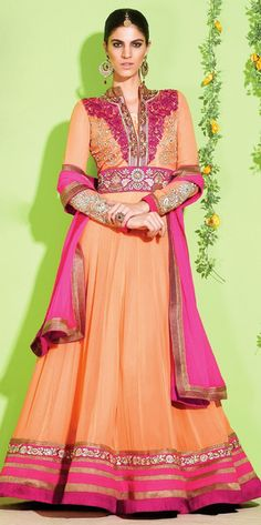 Bright Peach and Pink Anarkali Suit