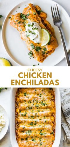 These Easy Chicken Enchiladas make the best Mexican dinner! They& stuffed with shredded chicken and cheese, topped with red enchilada sauce and baked. Mexican Dinner Recipes, Dinner Recipes Easy Quick, Easy Weeknight Meals, Quick Easy Meals, Mexican Desserts, Quesadillas, Cheesy Chicken Enchiladas, Chicken Tacos, Boil Chicken