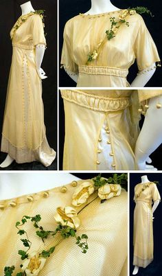 Bridesmaid's dress, ca. 1910. Golden mesh tunic over ivory satin gown. Neckline, hems, and sleeves of tunic are trimmed with balls covered with gold silk thread. Satin flowers have mesh centers; leaves are green fabric. Dress closes in back with hooks. Skirt forms a short train. Vintage Textile via web.archive.org